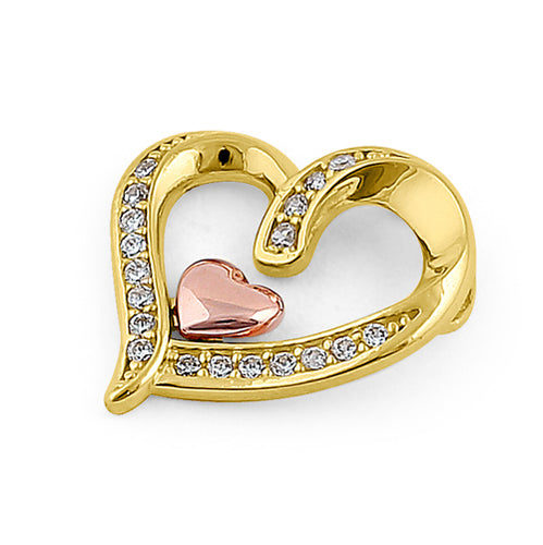 Solid 14K Yellow Gold Rose Gold Plated Inner Heart CZ Pendant