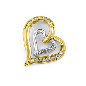 Solid 14K Yellow Gold White Gold Plated Inner Heart CZ Pendant