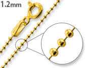 Load image into Gallery viewer, 14K Gold Plated Sterling Silver Bead Chain 1.2MM