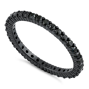Black Rhodium Eternity Black CZ Ring