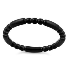 Load image into Gallery viewer, Black Rhodium Plated Stackable Bead and Bar Ring