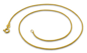 14K Gold Plated Sterling Silver Box Chain 1MM