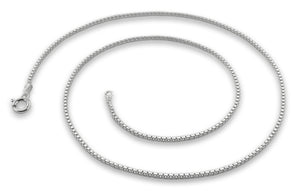 "Sterling Silver 9"" Box Chain Bracelet - 1.1MM"