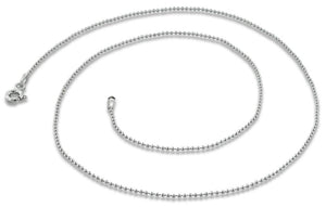 "Rhodium Sterling Silver 20"" Bead Chain 0.9MM"