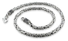 "Load image into Gallery viewer, Sterling Silver 9"" Round Byzantine Chain Bracelet/Anklet - 5.0MM"