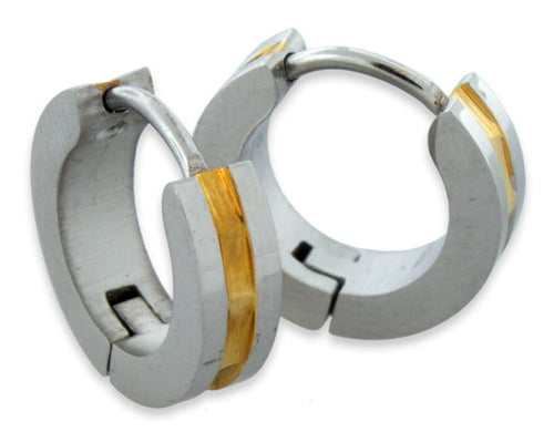 Stainless Steel 4mm Center Golden Line Huggie Earrings