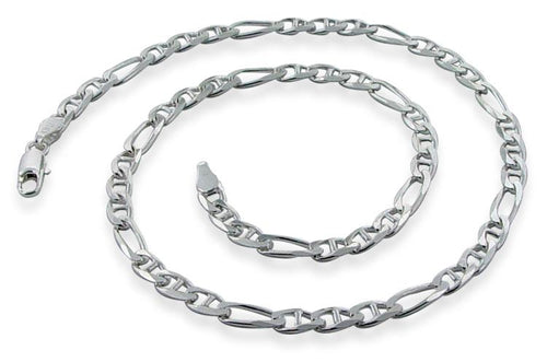 "Sterling Silver 30"" Figaro Chain Necklace 4.8MM"
