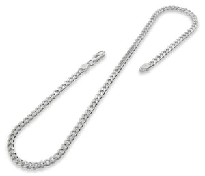"Sterling Silver 8"" Curb Chain Bracelet 4.6mm"