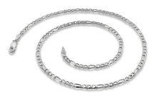 "Load image into Gallery viewer, Sterling Silver 8"" Figaro Chain Bracelet 3.0 mm"
