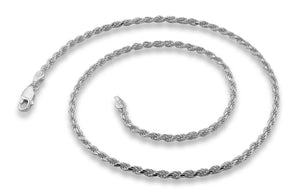 "Sterling Silver 8"" Rope Chain Bracelet 2.4MM"