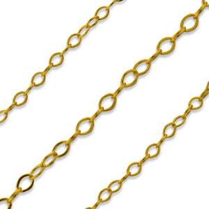 Gold Filled Chain Flat Cable 1.3mm (sold by the foot)