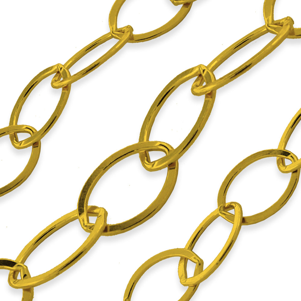 Gold Filled Flat Oval Cable Chain 8.8x6.6mm (sold by the foot)