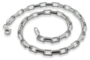 "Sterling Silver 7"" Long Round Box Chain Bracelet - 5.7mm"