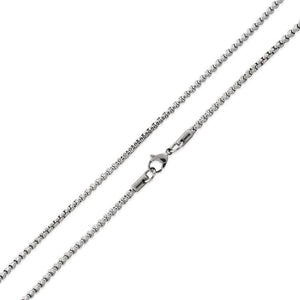 "Stainless Steel 24"" Round Box Chain Necklace 3.0 MM"