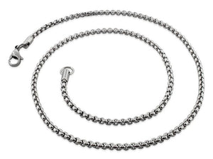 "Stainless Steel 18"" Round Box Chain Necklace 3.0 MM"