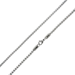 "Stainless Steel 24"" Round Box Chain Necklace 3.5 MM"