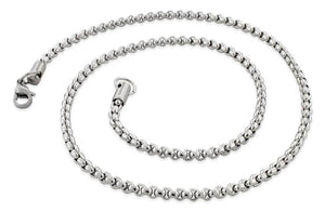 "Stainless Steel 16"" Round Box Chain Necklace 3.5 MM"