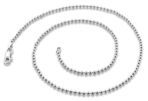 "Sterling Silver 9"" Bead Chain Bracelet/Anklet - 1.8MM"