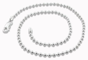 "Sterling Silver 10"" Bead Chain Anklet - 3.0MM"