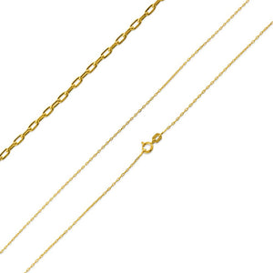 "Gold Plated Sterling Silver 16"" Forz D/C Chain 0.95MM"