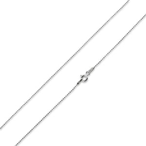 "Rhodium Sterling Silver 18"" Bead Chain 0.9MM"