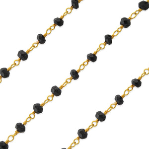 Gold Filled Bead Black Spinel Chain (sold by the foot)