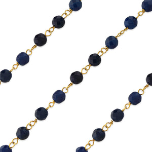 Gold Filled Bead Blue Onyx Chain (sold by the foot)
