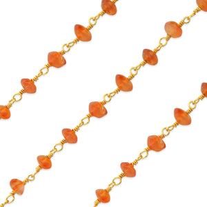 Gold Filled Bead Carnelian Chain (sold by the foot)