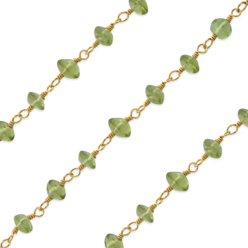 Gold Filled Bead Peridot Chain (sold by the foot)