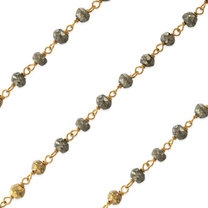Gold Filled Bead Pyrite Chain (sold by the foot)