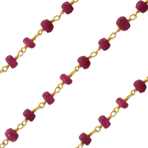Gold Filled Bead Ruby Chain (sold by the foot)