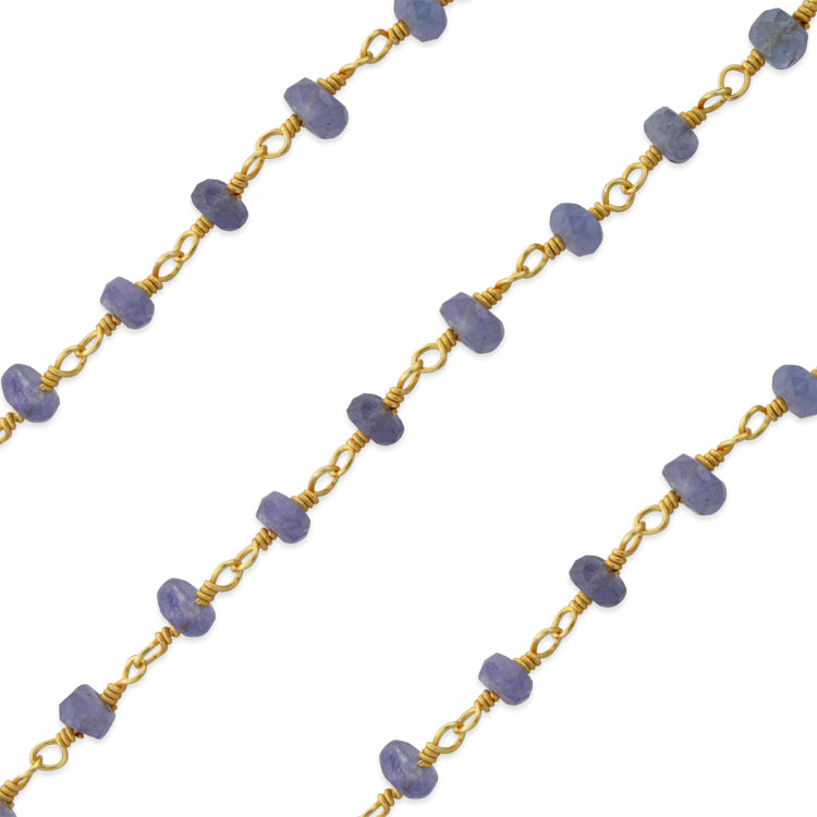 Gold Filled Bead Tanzanite Chain (sold by the foot)