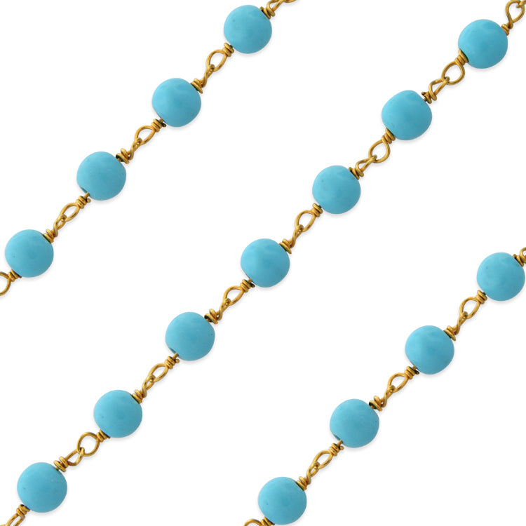Gold Filled Bead Turquoise Chain (sold by the foot)