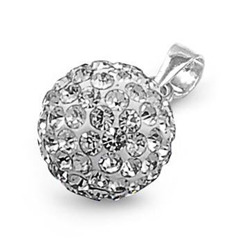 Sterling Silver CZ Ball Pendant
