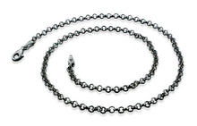 Load image into Gallery viewer, Black Rhodium Sterling Silver Rollo Chain Necklace 3.0MM