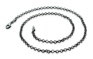 Black Rhodium Sterling Silver Rollo Chain Necklace 3.0MM