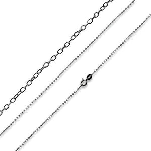 Black Rhodium Sterling Silver Cable Chain 1.1MM