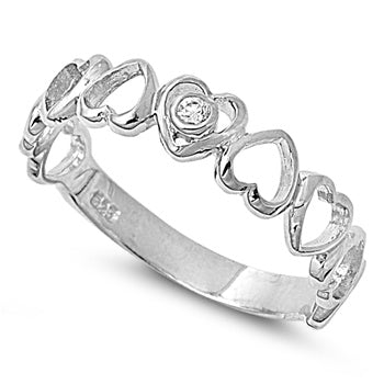 Sterling Silver Multiple Heart CZ Ring