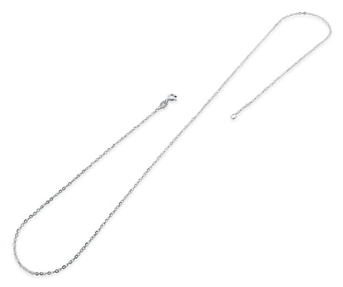 "Sterling Silver 16"" Flat Cable Twisted Chain Necklace"