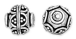 Sterling Silver Bali Style Bead Hexagonal Patten Pendant 10mm