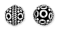Sterling Silver Bali Style Bead Round Pattern Pendant 7mm