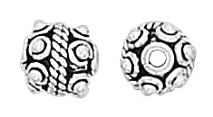 Sterling Silver Bali Style Bead Small Round Pendant 7mm