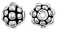 Sterling Silver Bali Style Flower Bead 6.5mm