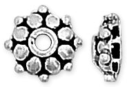 Sterling Silver Bali Style Round Cap 8mm - Pack of 2