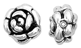 Sterling Silver Fancy Rose Bead