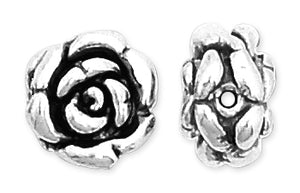 Sterling Silver Fancy Satin Rose Bead