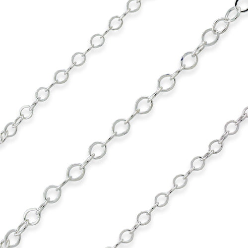 Sterling Silver Chain Flat Cable 1.3mm (sold by the foot)