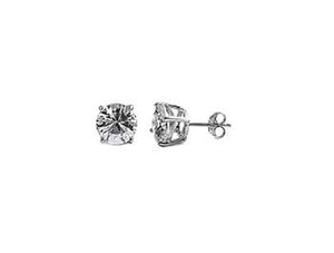 Sterling Silver CZ Round Stud Earrings 4MM - Casting