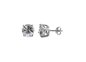 Sterling Silver CZ Round Stud Earrings 6MM - Casting