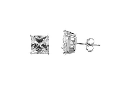 Sterling Silver CZ Square Stud Earrings 4MM - Casting